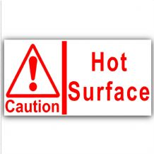 1 x Caution Hot Surface-50mm Small Self Adhesive Stickers,Red on White-Catering,Cafe,Restaurant,BAr,Pub,Kitchen-Health and Safety Sign